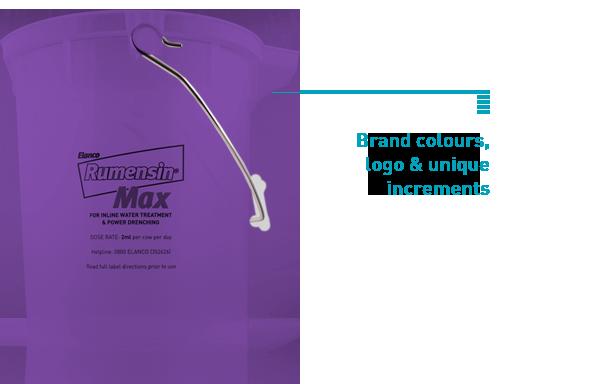 customisable plastic measuring bucket for branding