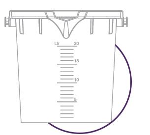 line art of a 20 litre bucket