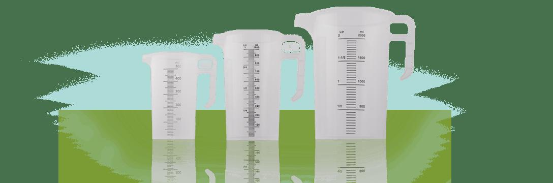 three different measuring jugs